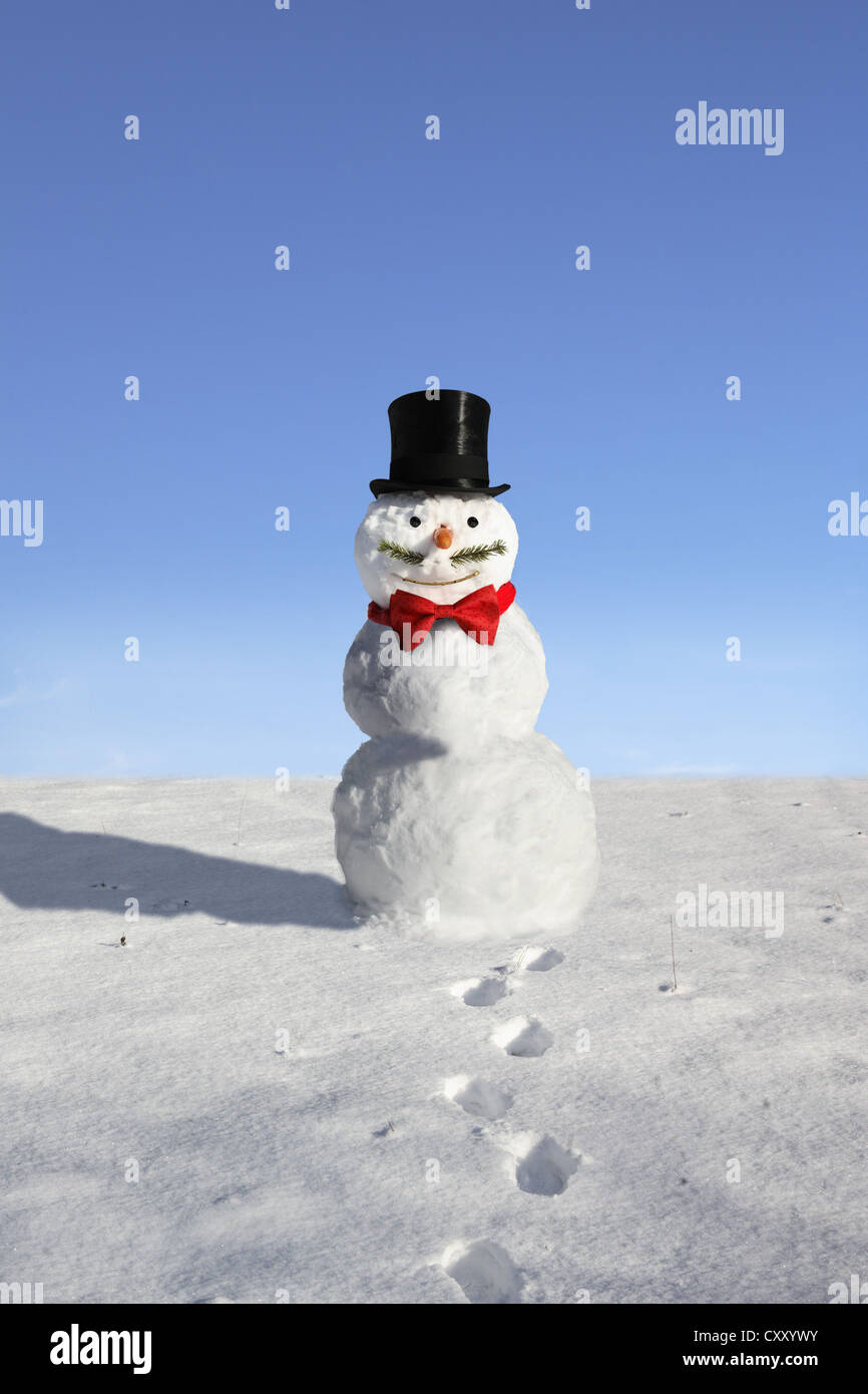 Snowman with a top hat, bow tie and a mustache - Stock Image