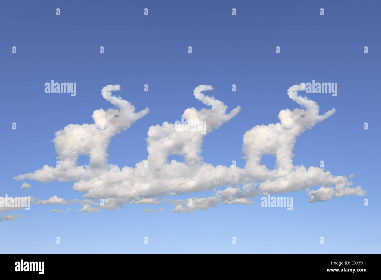 Cloud formations in the shape of thee elephants, illustration - Stock Image