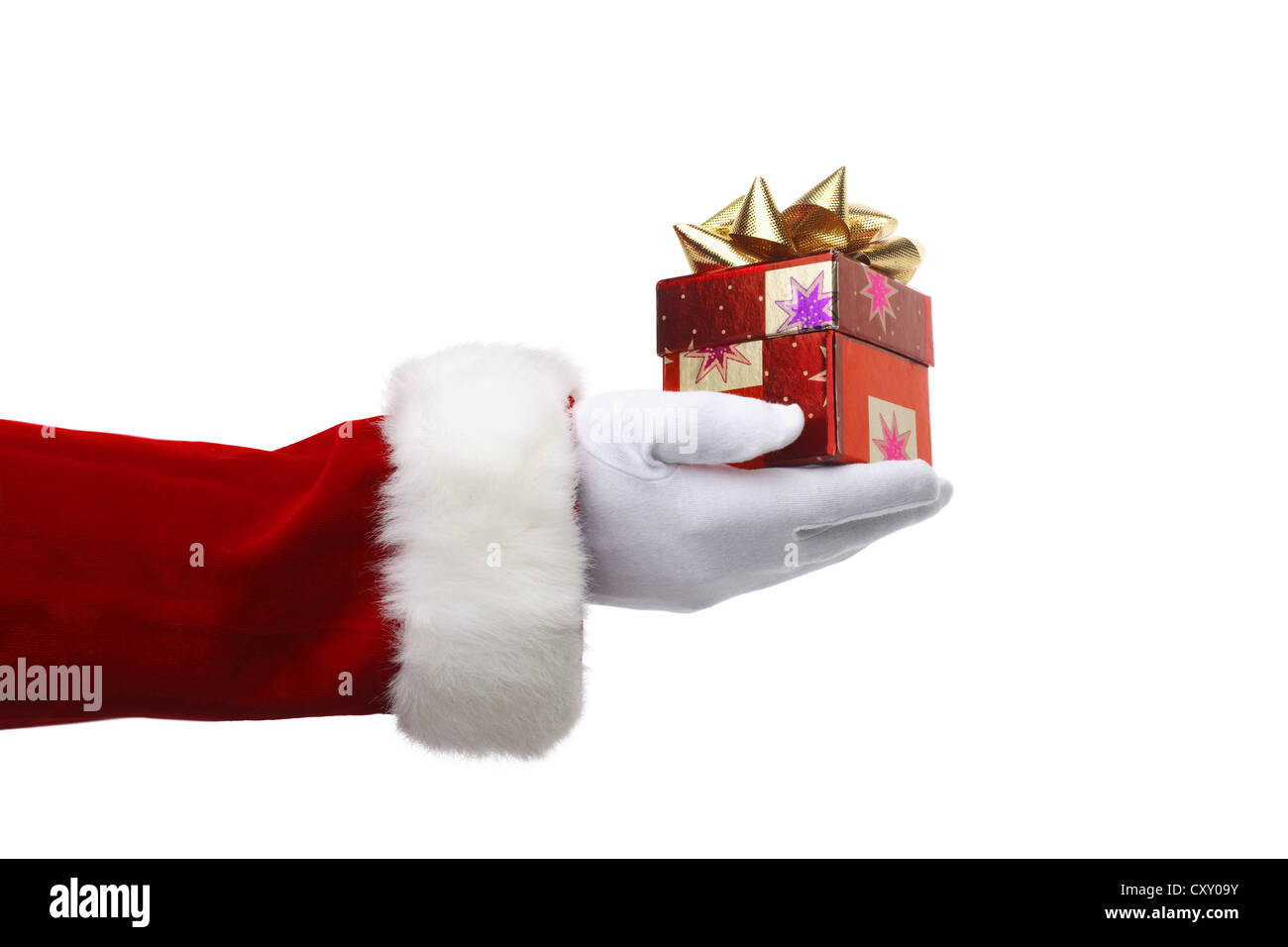 Santa Claus, detail of an arm handing over a Christmas present Stock ...
