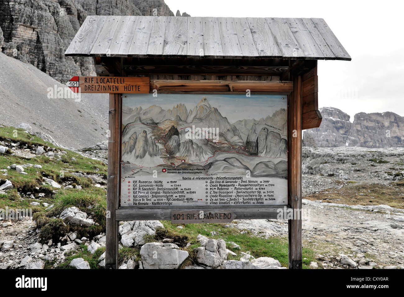 Information board for hiking trails, Three Peaks Trail, hiking trail sign for trail 101, Dolomites, Alto Adige, - Stock Image