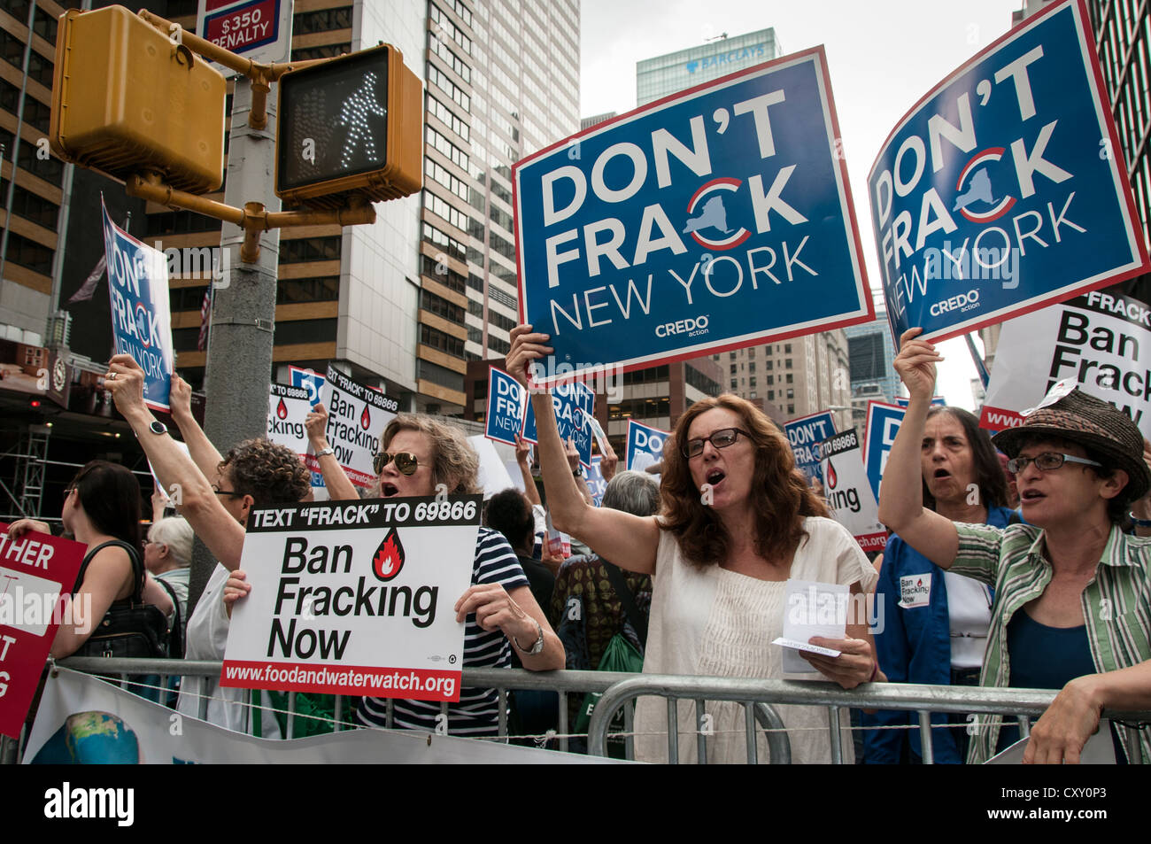 Activists demonstrate in a Manhattan protest against fracking for natural gas in New York outside NY Governor Cuomo's - Stock Image