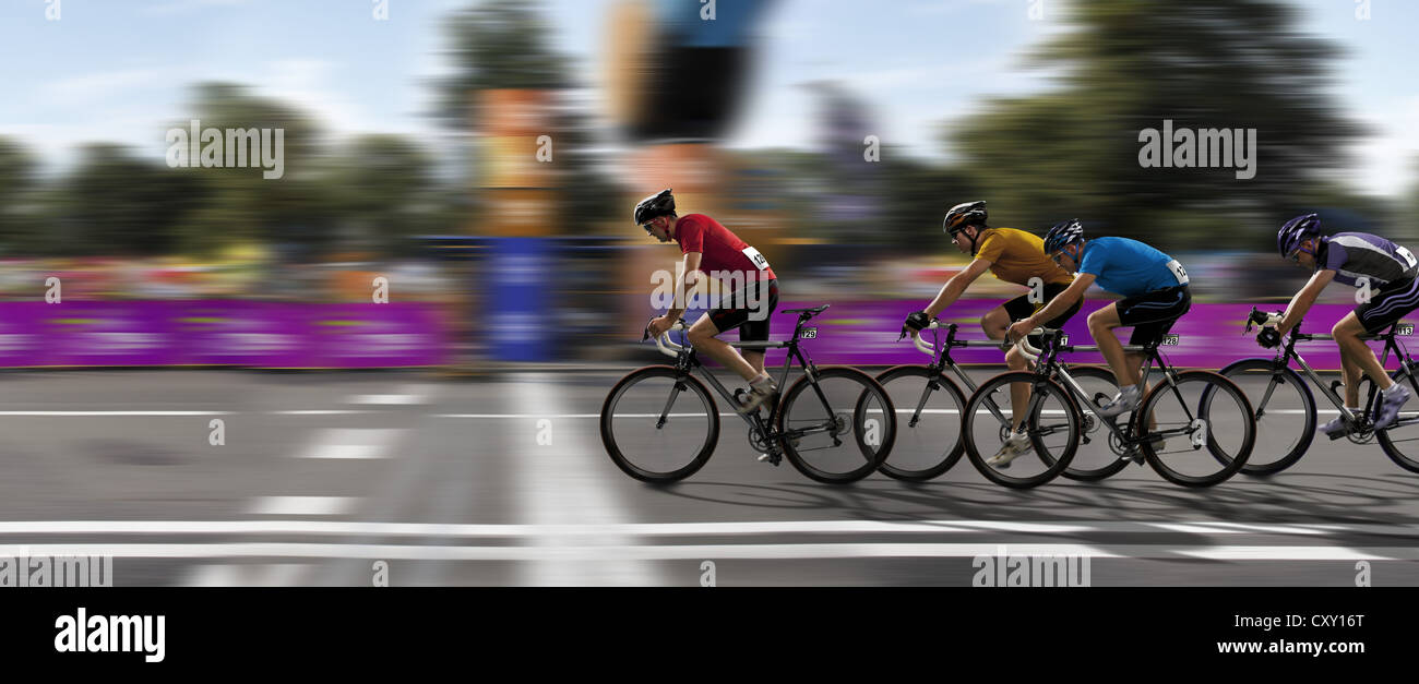 Cyclists, cycle race, victory, crossing the finish line, competition - Stock Image