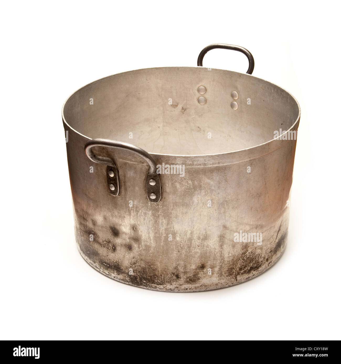Large metal saucepan cooking pot isolated on a white studio background. - Stock Image