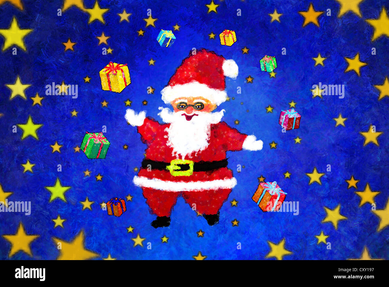 Santa Claus merrily juggling Christmas presents, illustration - Stock Image