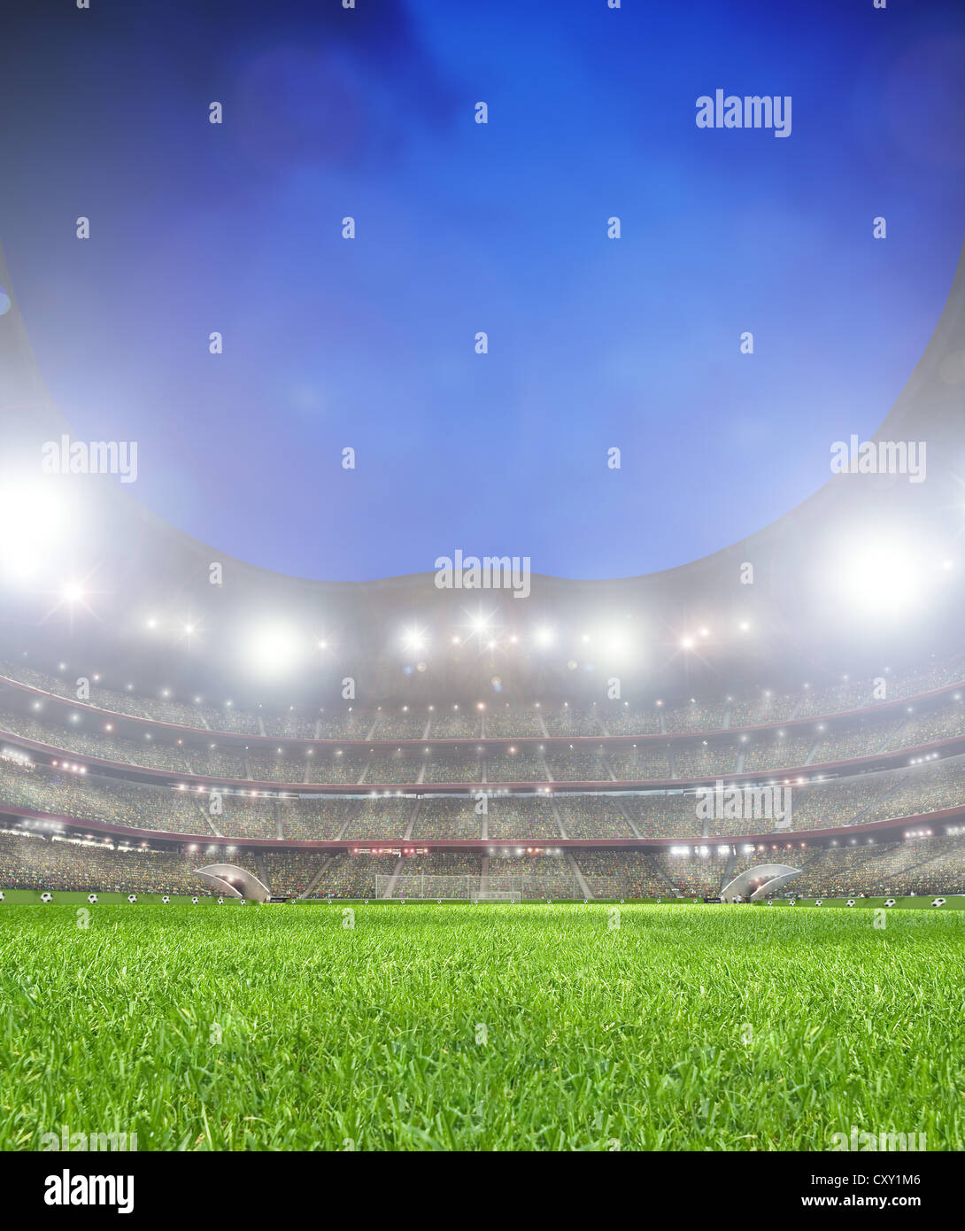 Grass in a football stadium with spectator stands, illustration - Stock Image