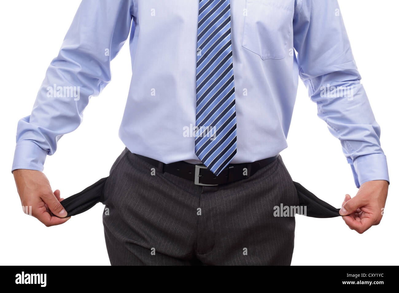 Bankrupt businessman with empty pockets - Stock Image