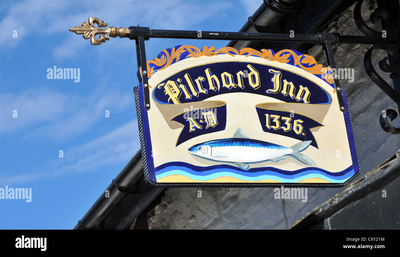 Pilchard Inn, Burgh Island, South Devon. Britain, UK - Stock Image
