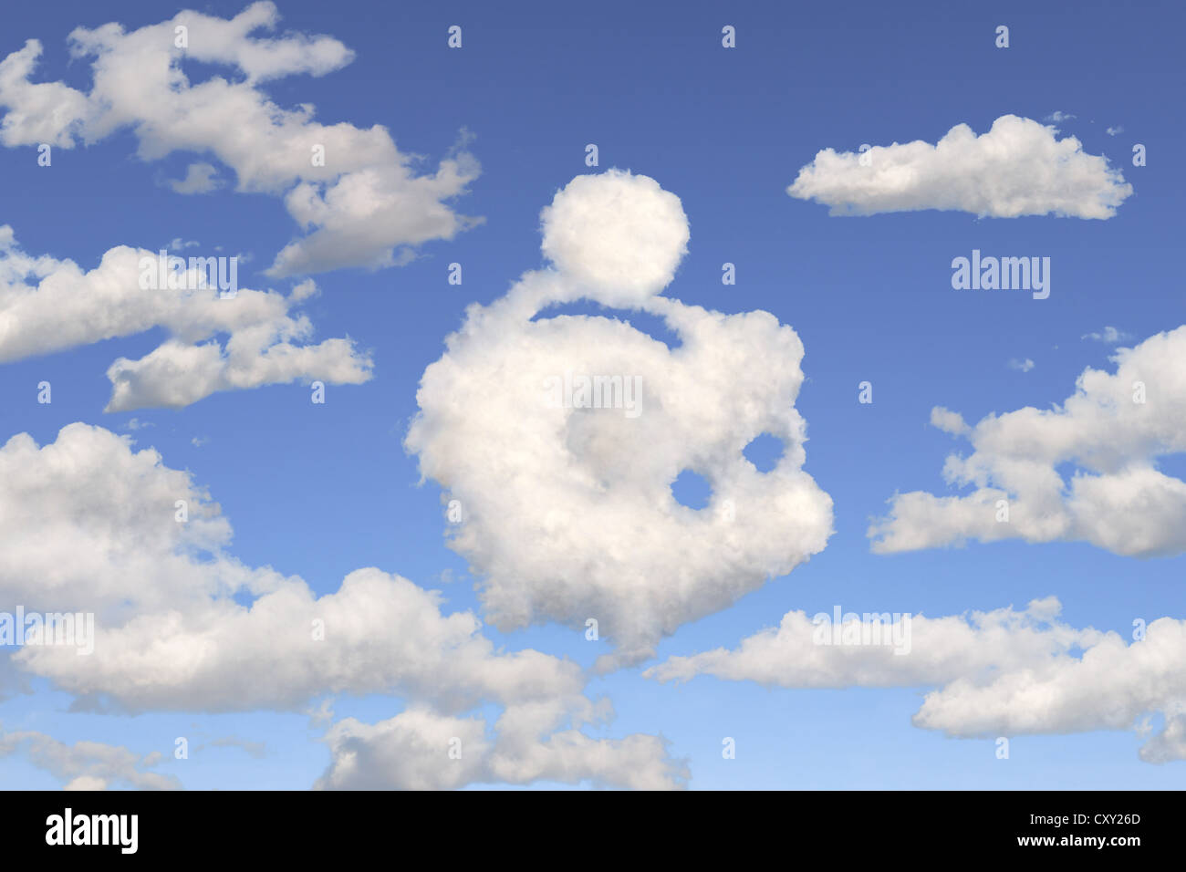 Blue sky, clouds shaped like a piggy bank, illustration - Stock Image