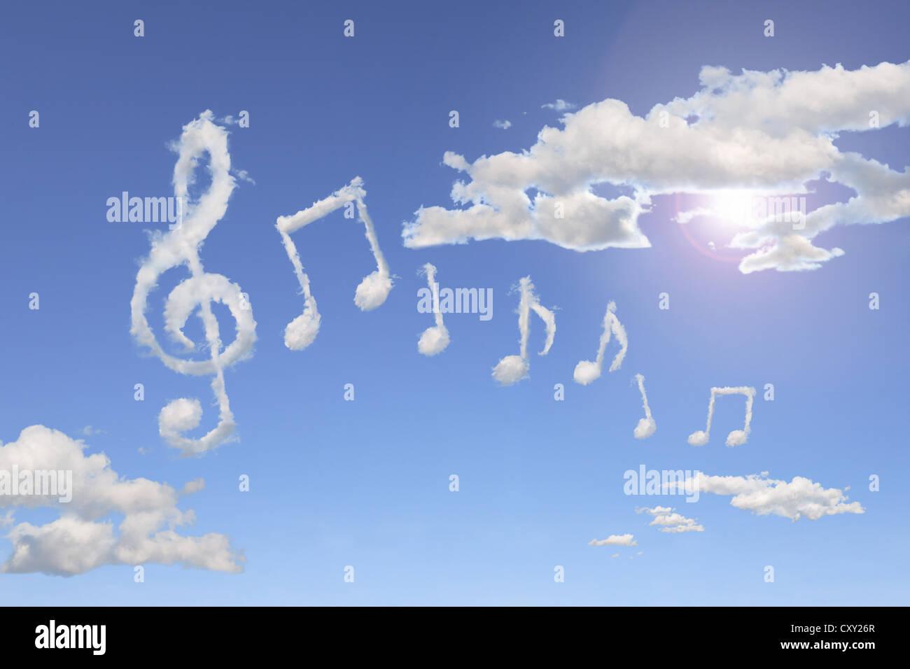 blue sky clouds shaped like music notes illustration stock photo 50996255 alamy. Black Bedroom Furniture Sets. Home Design Ideas