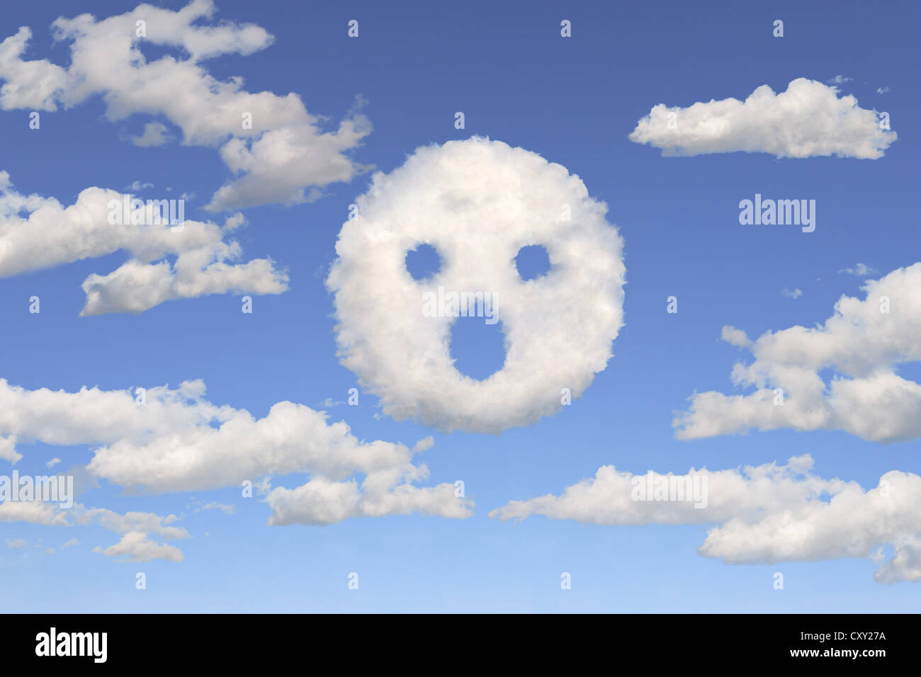 Clouds shaped like an astonished face, illustration - Stock Image