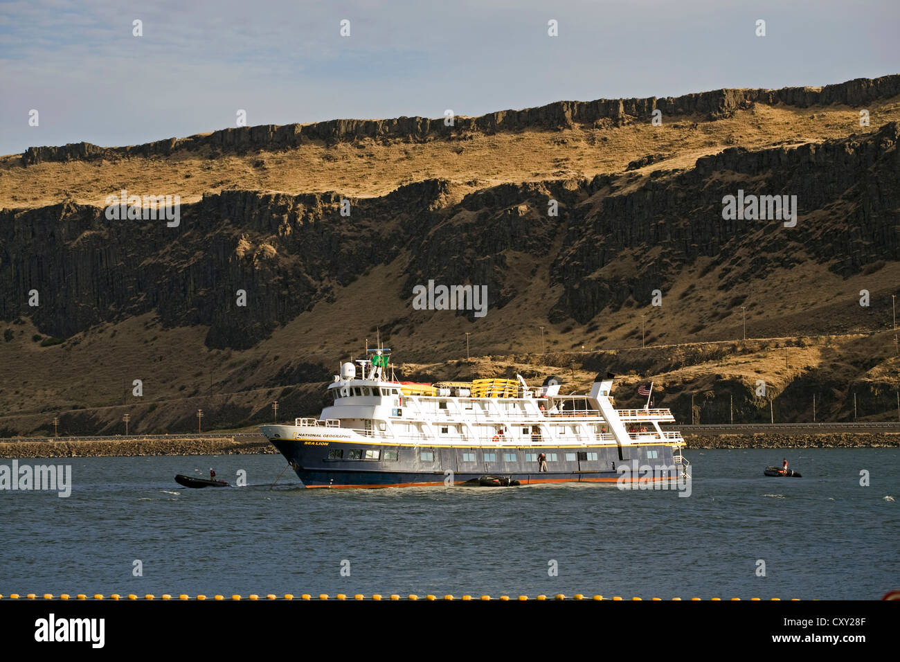 The National Geographic expedition ship Sea Lion at anchor in the Columbia River Gorge, Oregon - Stock Image