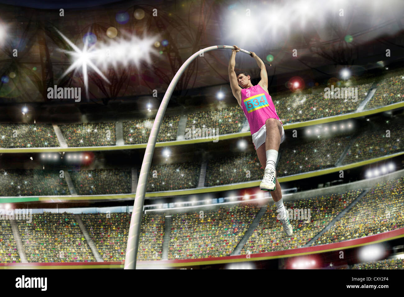 Pole vaulter, leap, grand stand, stadium - Stock Image