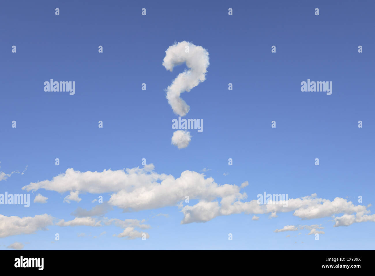 Cloud formations in the shape of a question mark, illustration - Stock Image