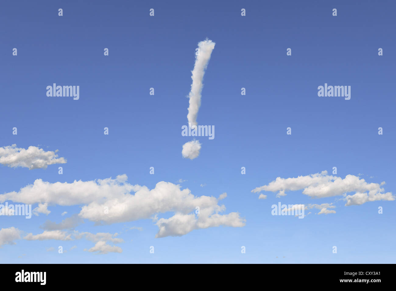 Cloud formations in the shape of an exclamation mark, illustration - Stock Image