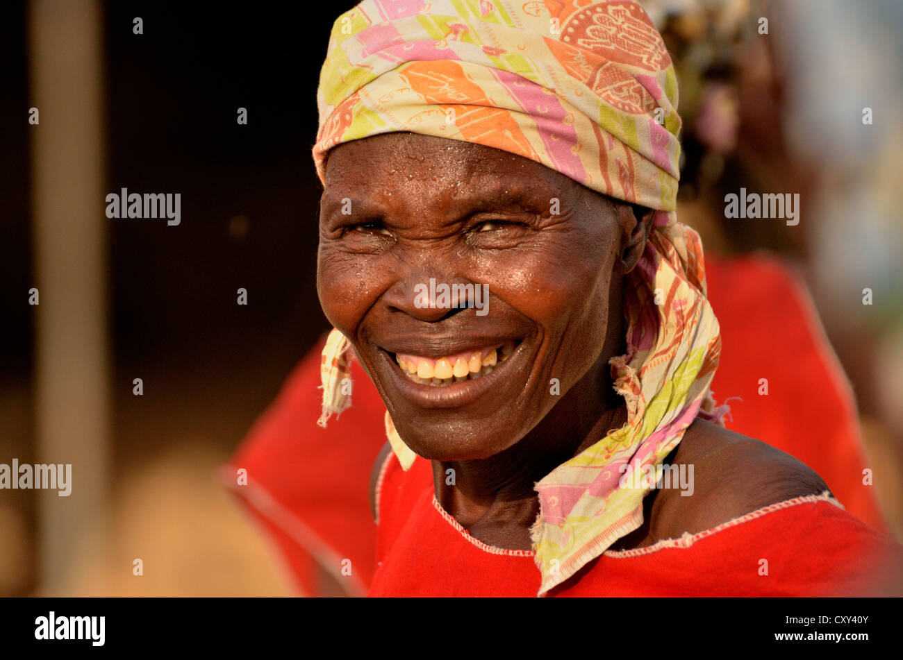 One of the 50 wives of Mogozo Daouka, 98, chief of the village of Oudjilla near Mora, Cameroon, Central Africa, - Stock Image
