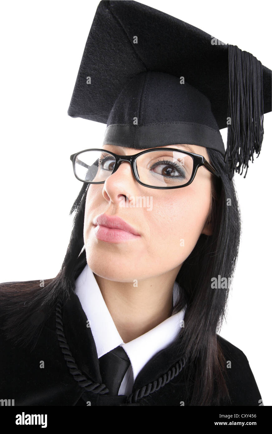 Female student wearing a graduation cap and glasses - Stock Image