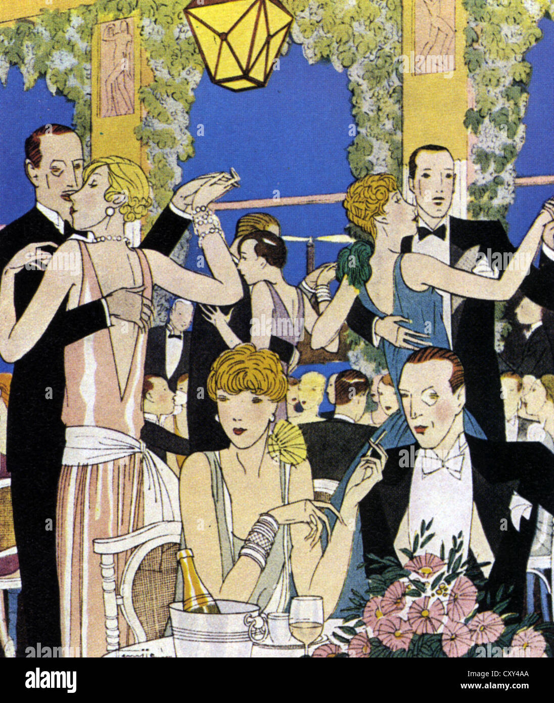 HIGH SOCIETY   from the French magazine 'Biarritz' in 1929 - Stock Image