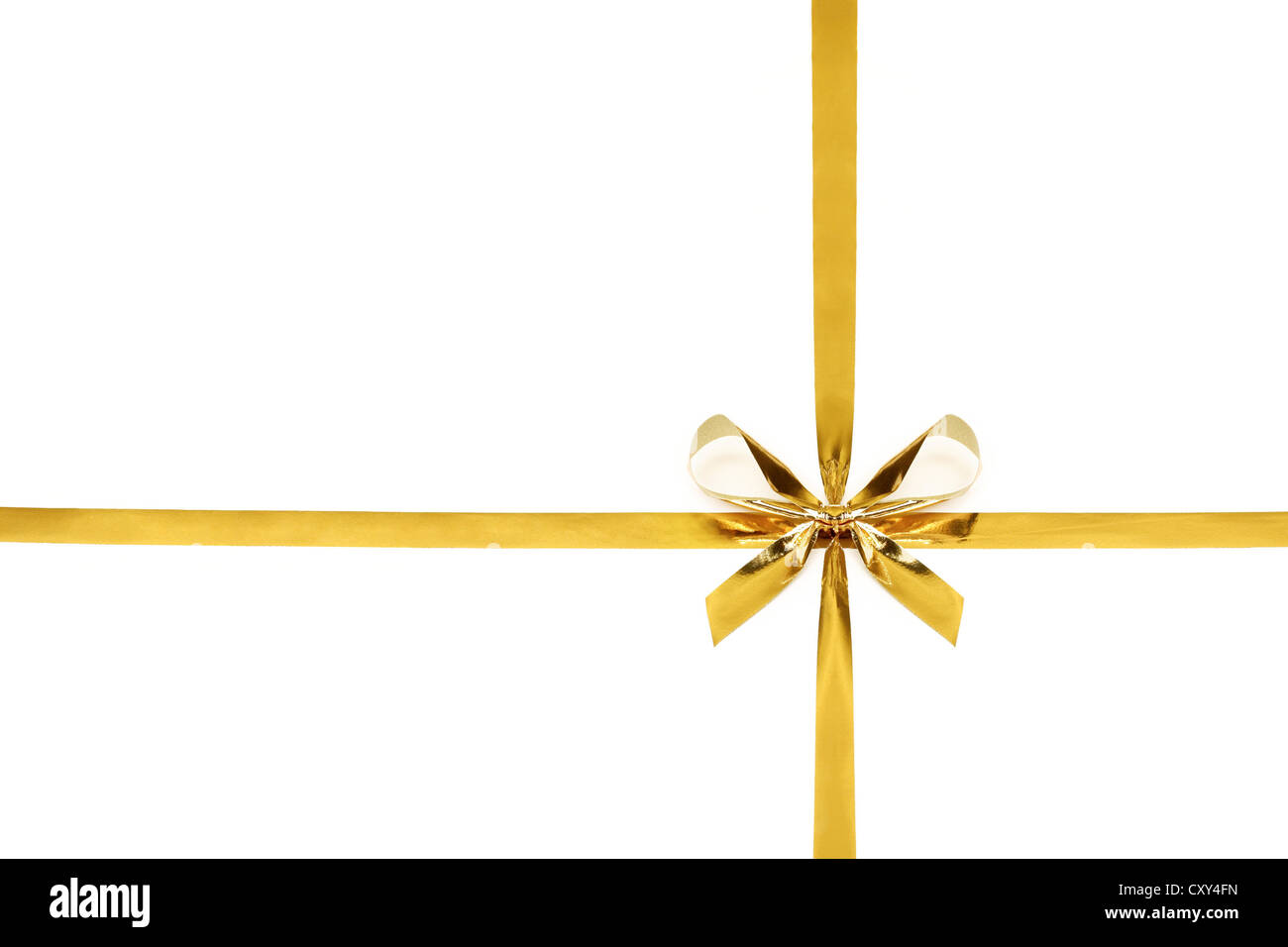 Gold ribbon tied in a bow - Stock Image