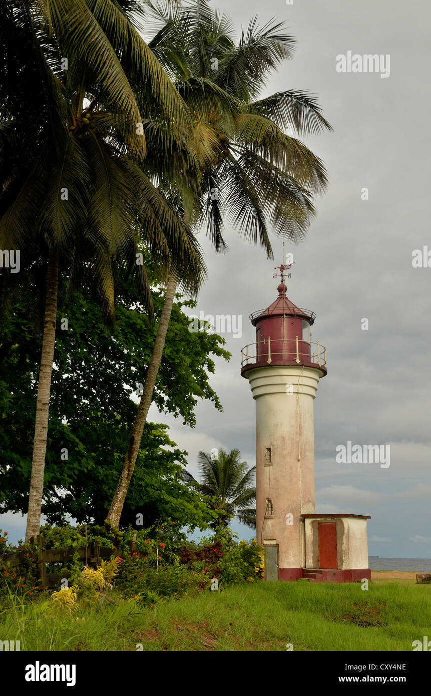 German lighthouse, Le Phare, from the colonial period, more than 100 years old, Kribi, Cameroon, Central Africa, - Stock Image