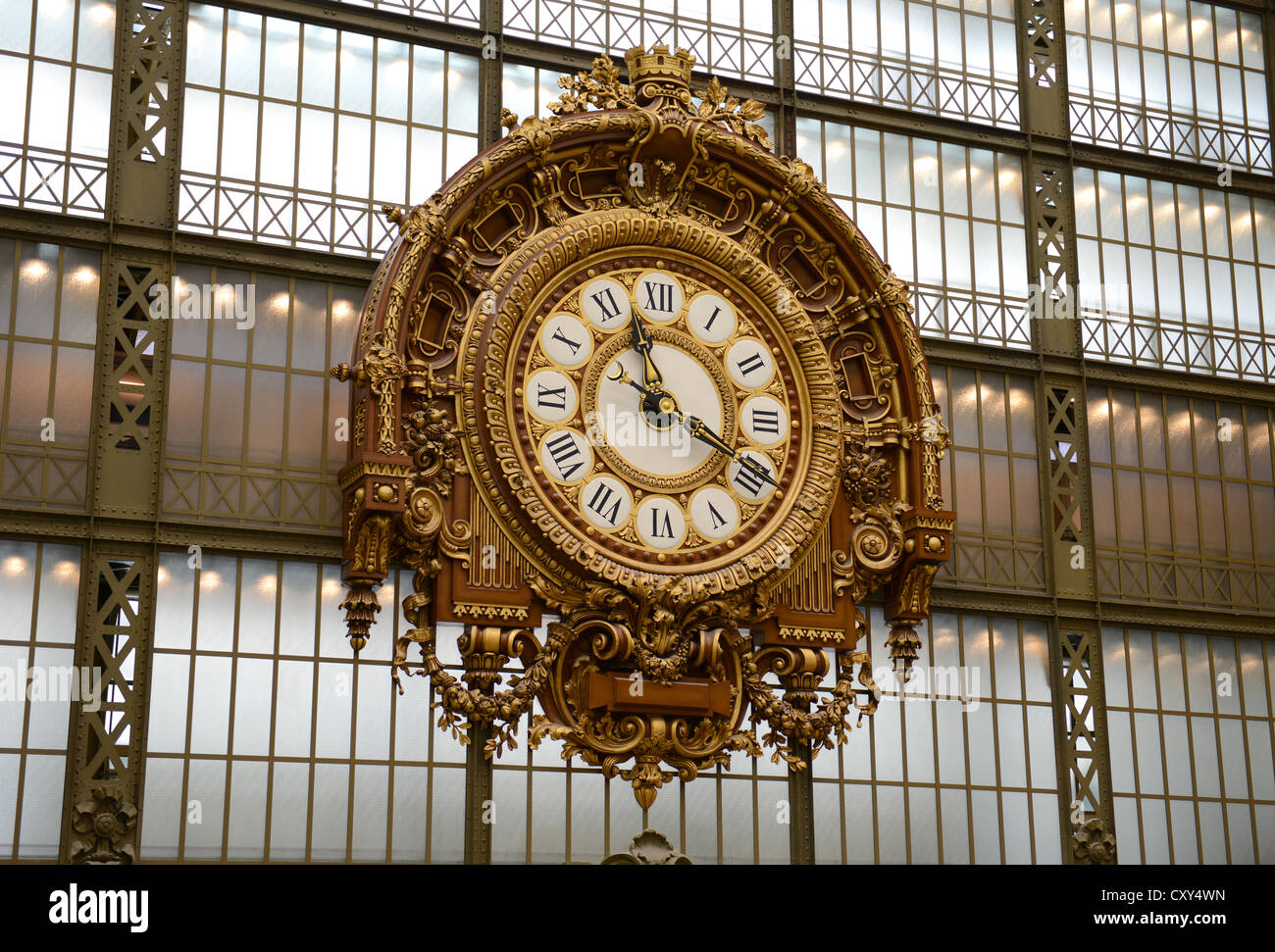 Musée d'Orsay, Paris, France, clock in the Musée d'Orsay, Paris, France - Stock Image