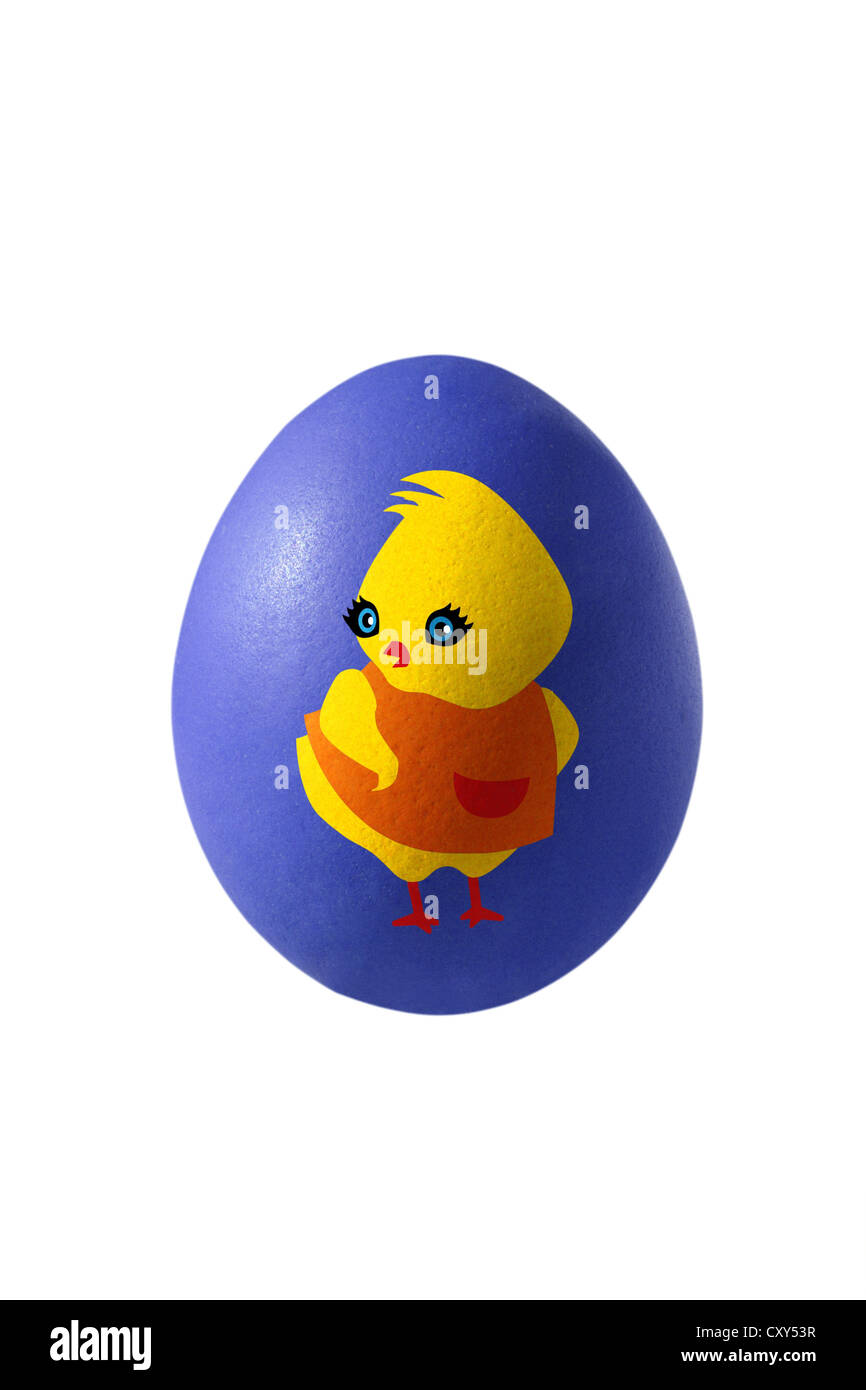 Blue Easter egg painted with a chick - Stock Image
