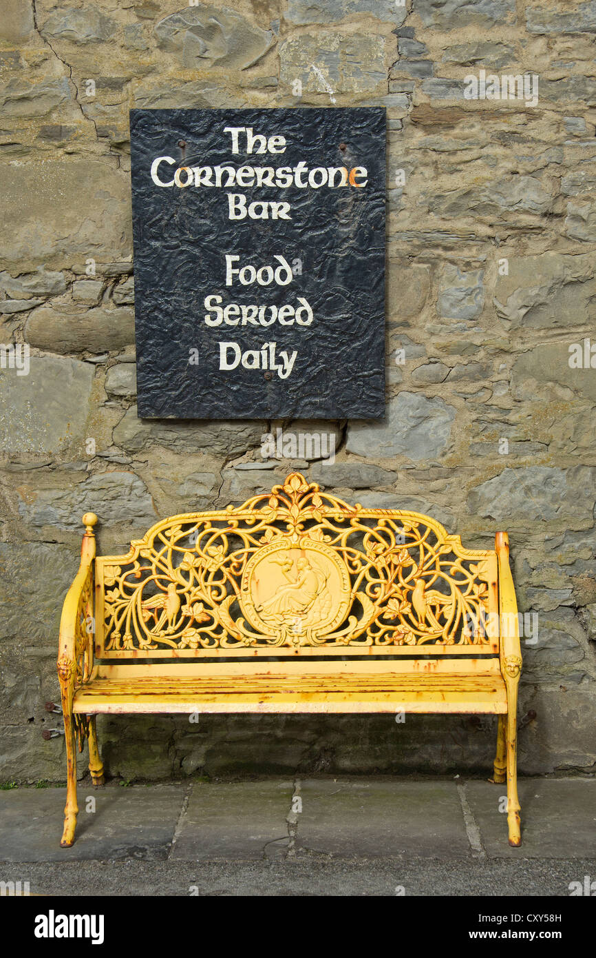 bench in front of  The Cornerstone Bar, Lahinch, Co. Clare, Republic of Ireland - Stock Image