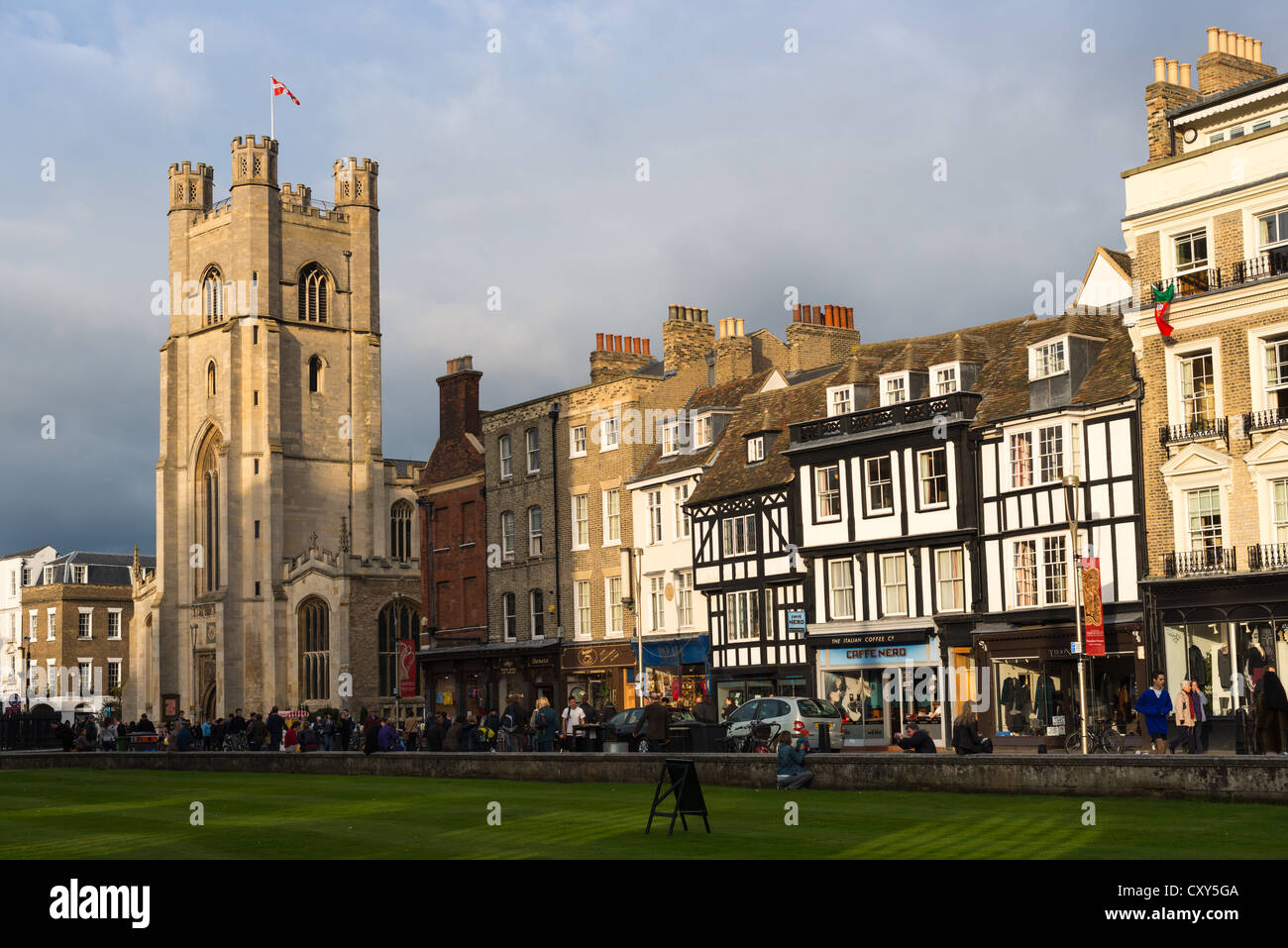 Kings Parade and Great St Marys Church seen from Kings College, Cambridge, England, UK - Stock Image