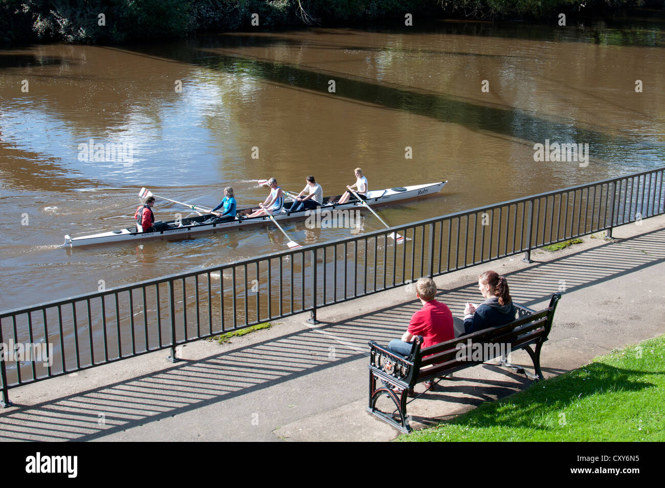Rowing on River Severn, Worcester, UK - Stock Image