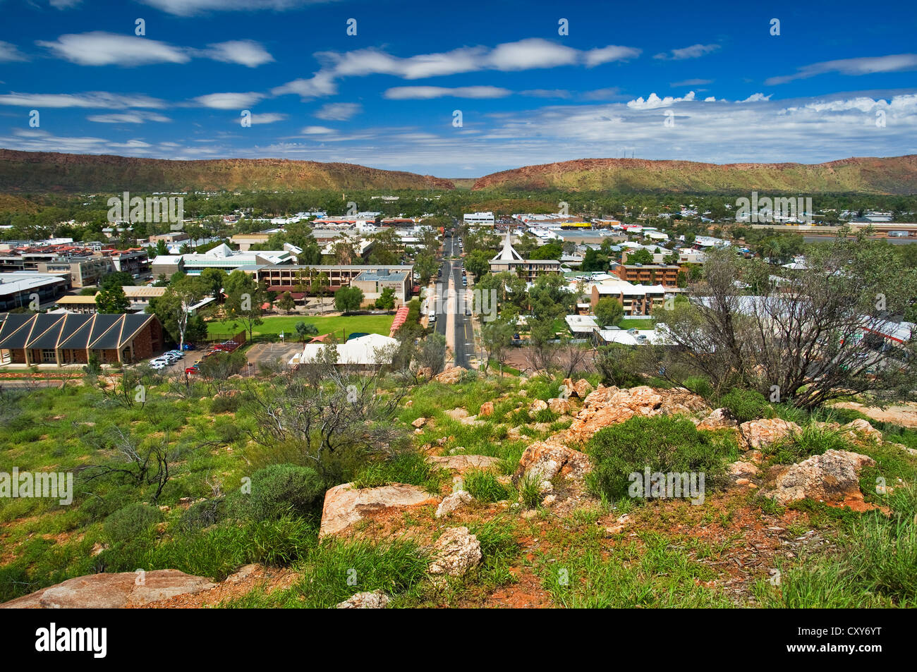 View of Alice Springs from ANZAC Hill. - Stock Image