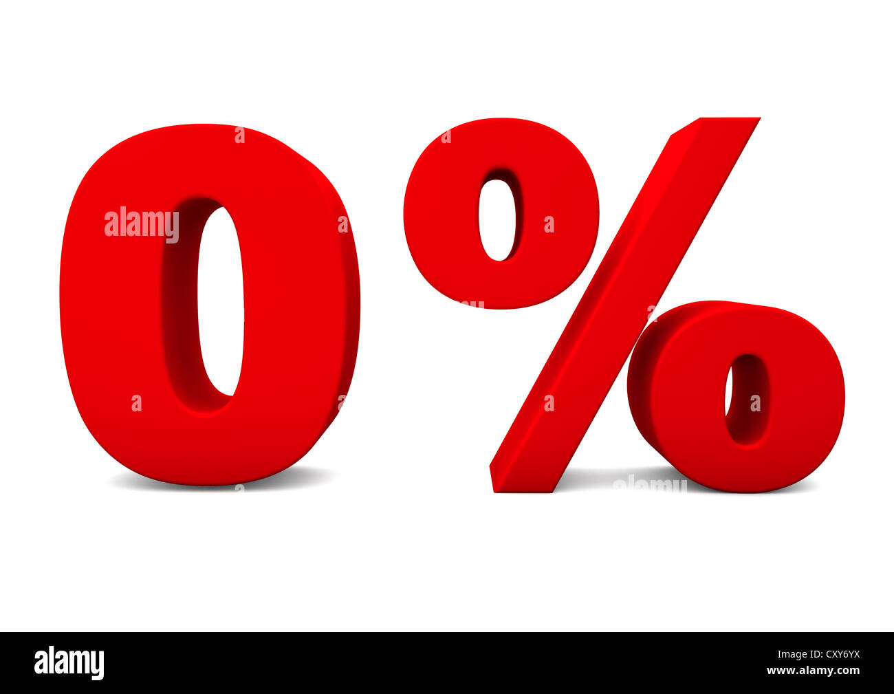 3d Render Of A Red Zero Percent Symbol Isolated On A White