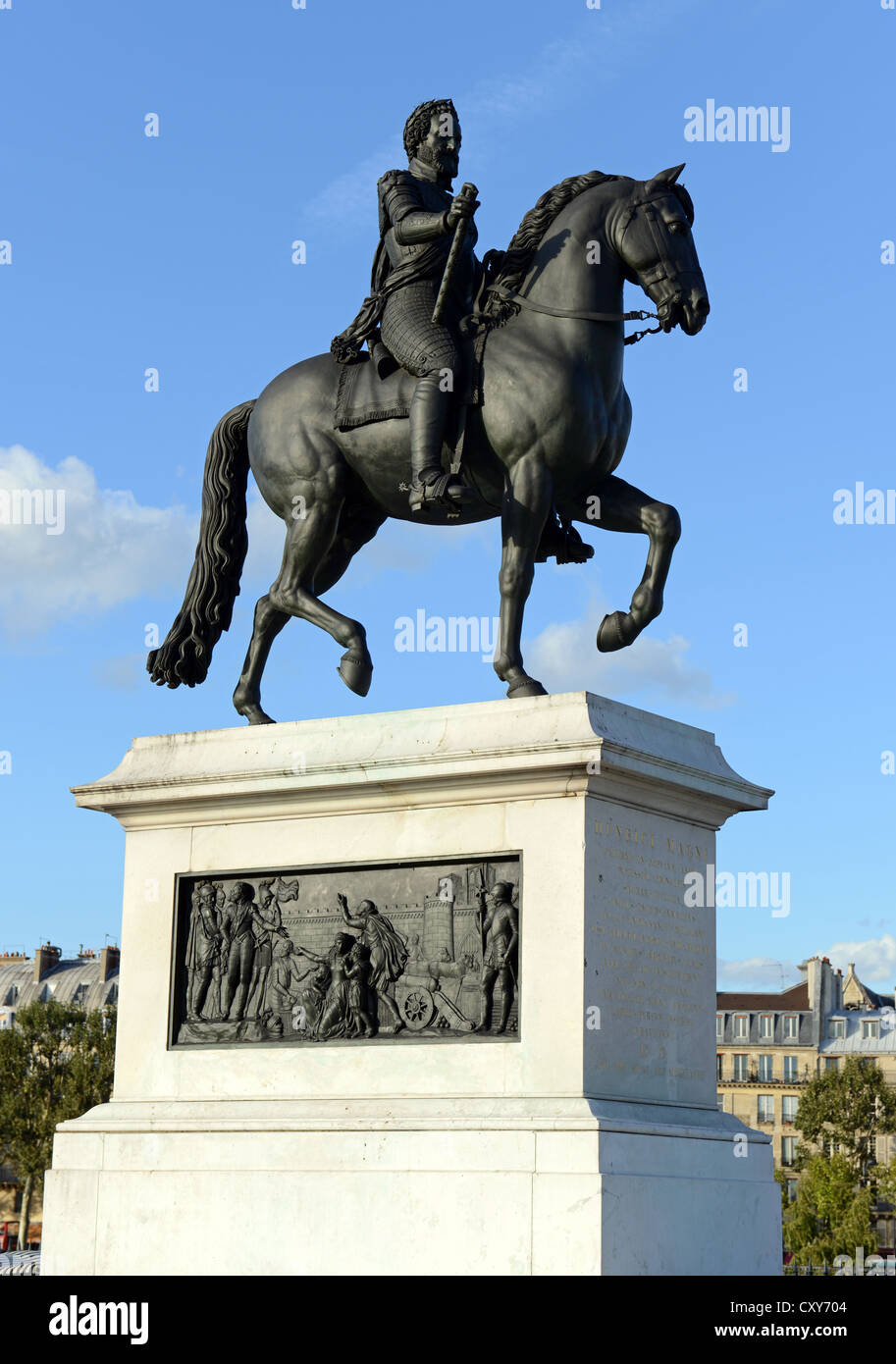 Statue of King of France Henri IV near Pont Neuf at Paris, France - Stock Image