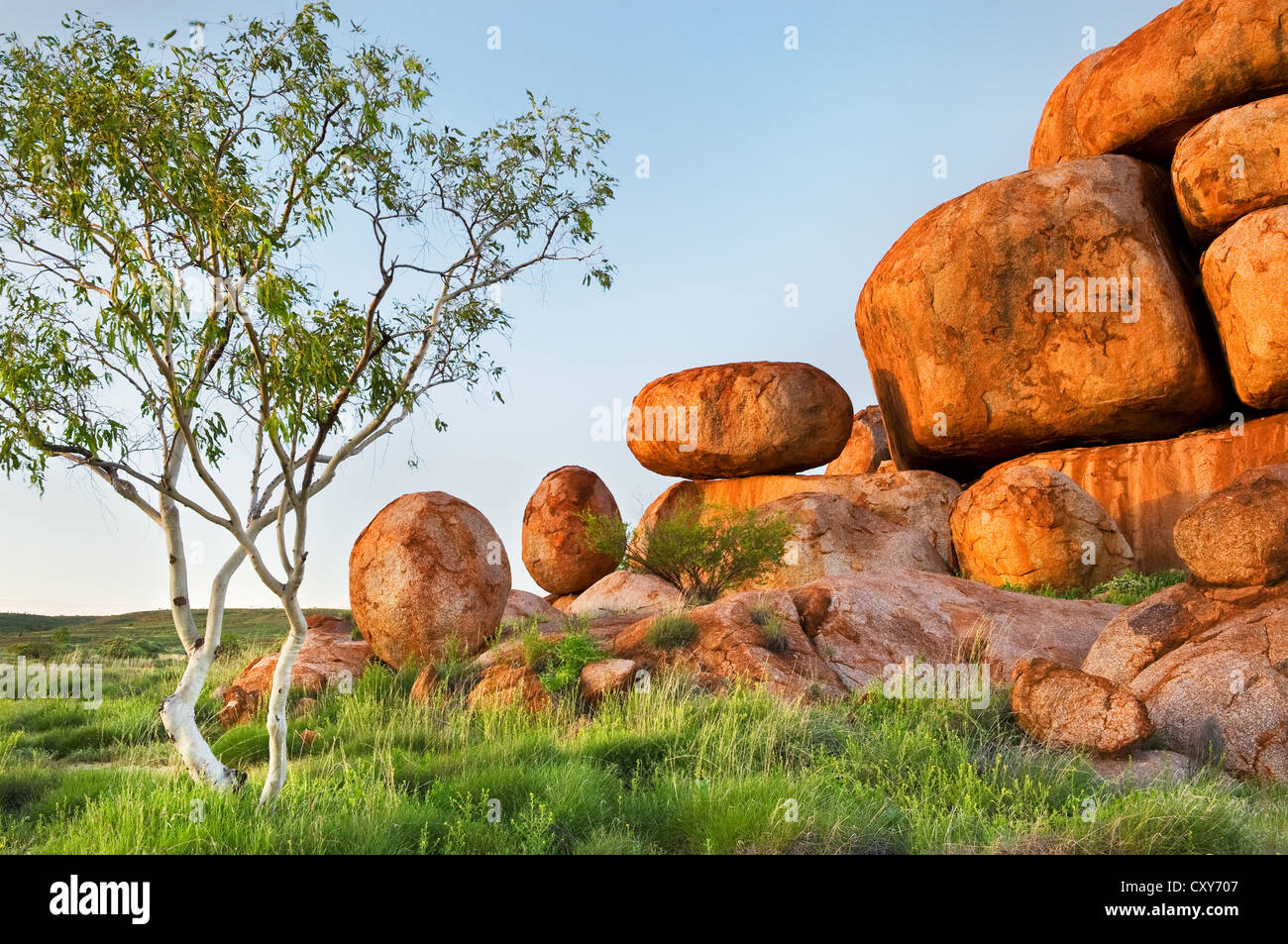 Egg-shaped Rocks of the Devils Marbles. - Stock Image