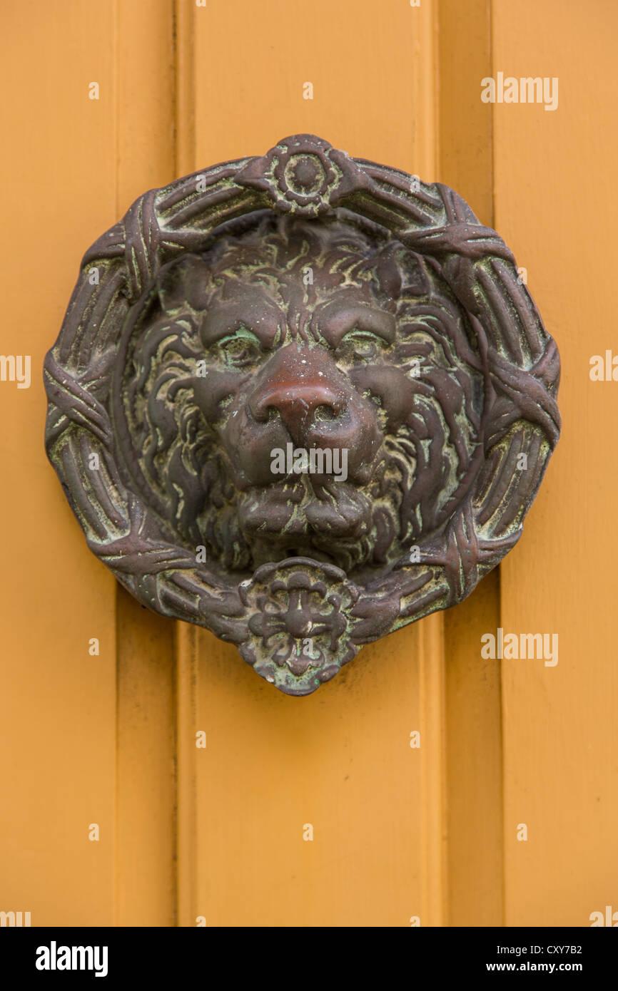 A Decorative Lion Door Knocker In Charleston Sc Stock