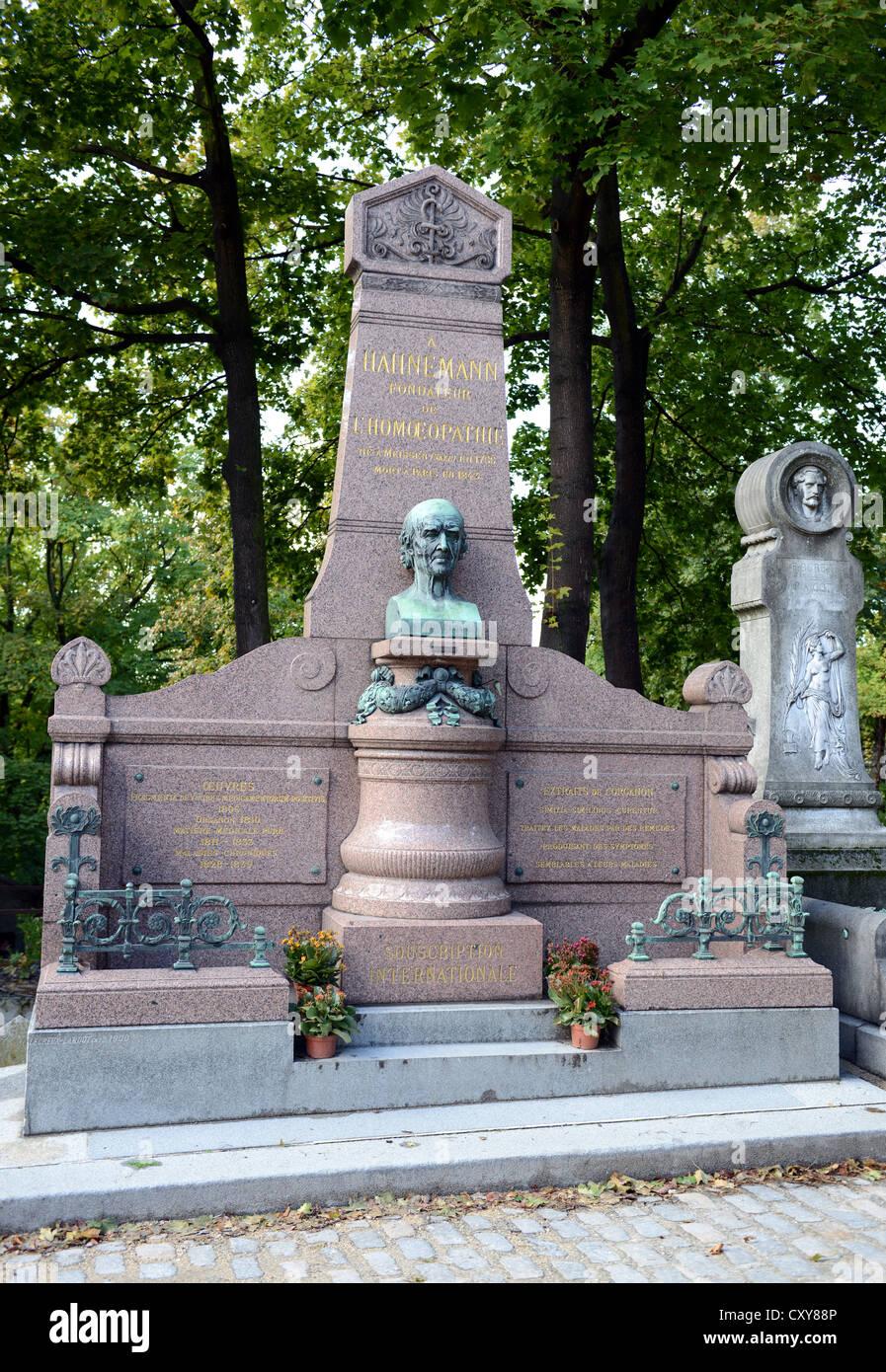 Christian Friedrich Samuel Hahnemann grave at Père Lachaise Cemetery, Cimetière du Père-Lachaise, - Stock Image