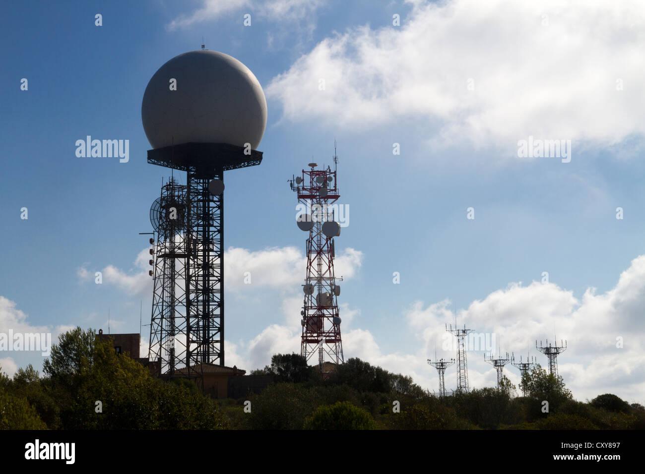 Transmitting station aeronautic control radar on Puig de Randa Mallorca Balearic islands Spain - Stock Image