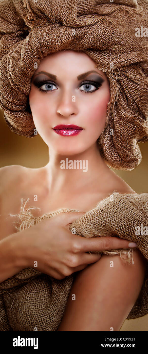 young woman beauty portrait wearing jute turban Stock Photo