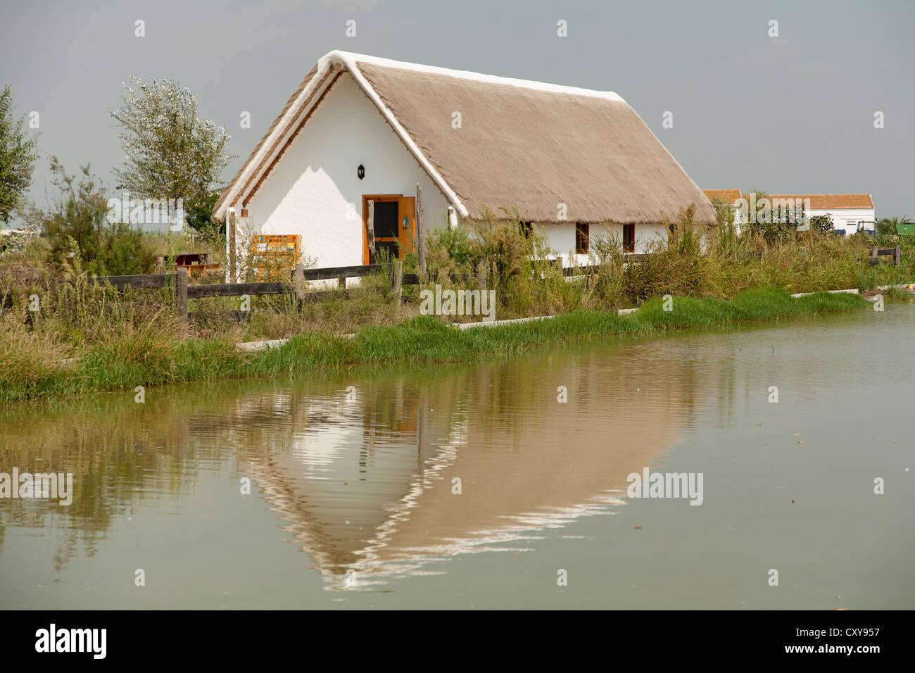 """Hut, """"Barraca"""" typical building in Ebro delta, near a rice field in Riet Vell, Amposta, Ebro Delta, Natural Park, Stock Photo"""