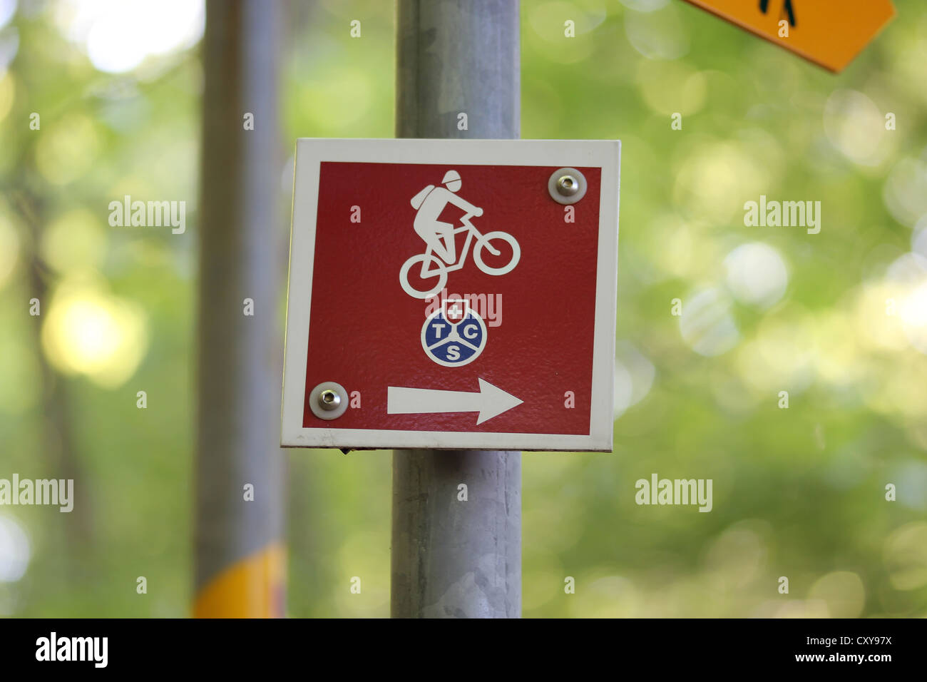 tracking sign, mountains, walking, climbing, mtb, mountain bike, trail, photoarkive - Stock Image