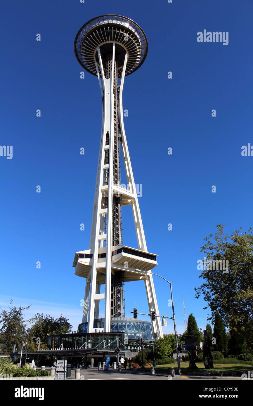 Seattle Space Needle Tower, Seattle, Washington, USA - Stock Image