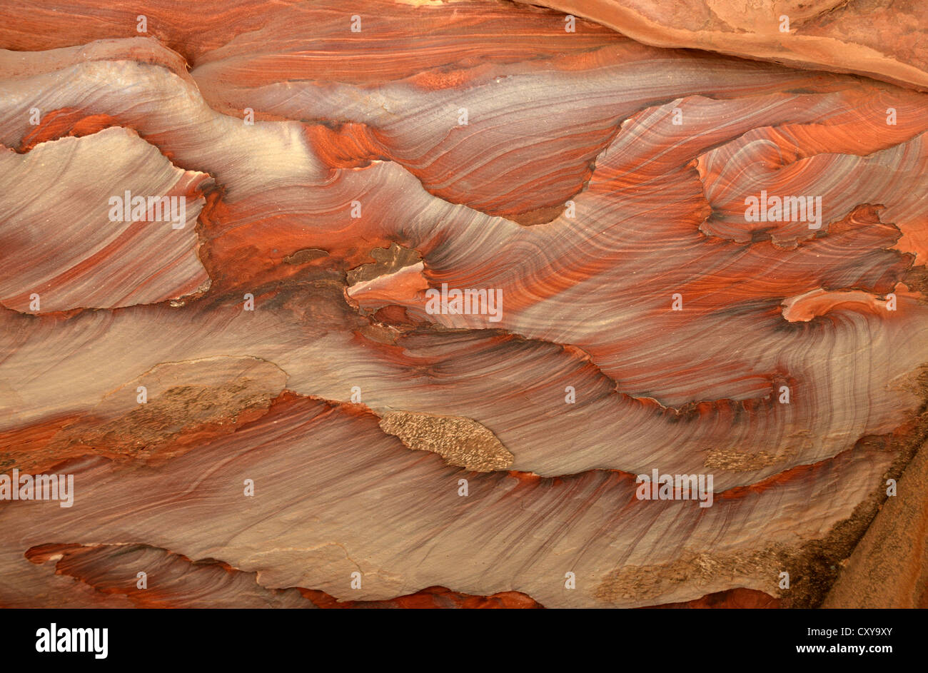 Polished stone ceiling in a rock carved cave, Petra, Jordan - Stock Image