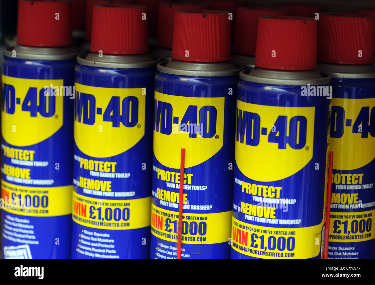 WD-40 cans, WD40 spray - Stock Image