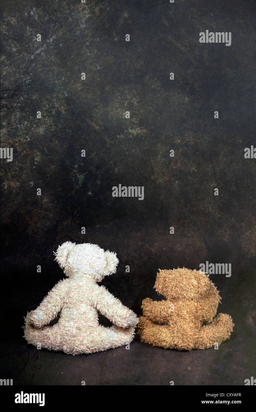 two teddy bears are sitting with the back to the viewer - Stock Image