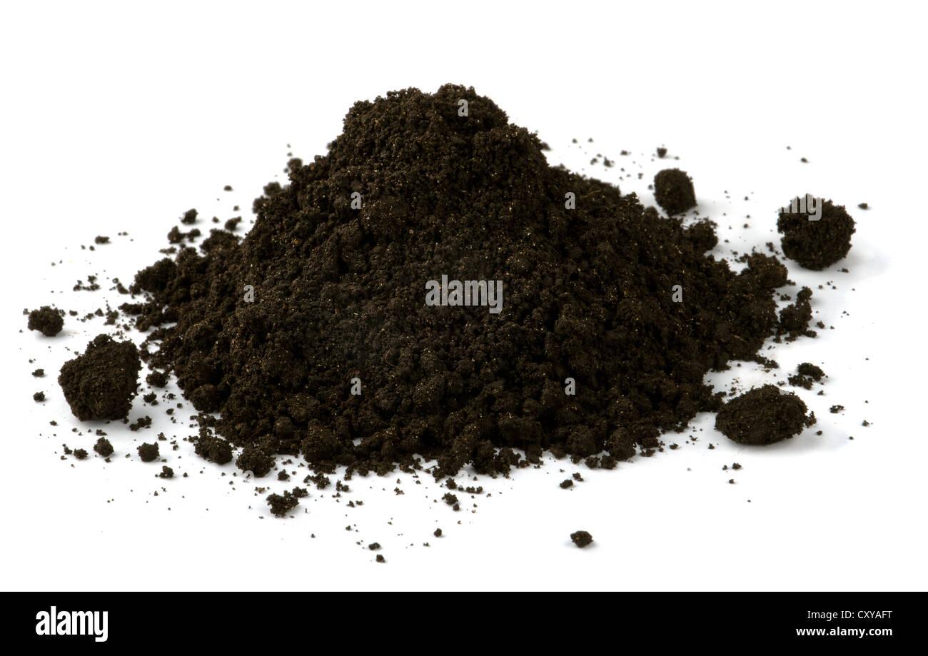 Pile of black fertile soil isolated on white - Stock Image