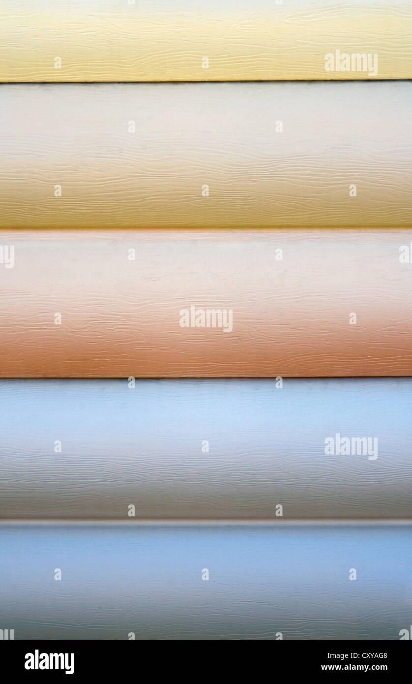 Close up of vinyl siding samples - Stock Image