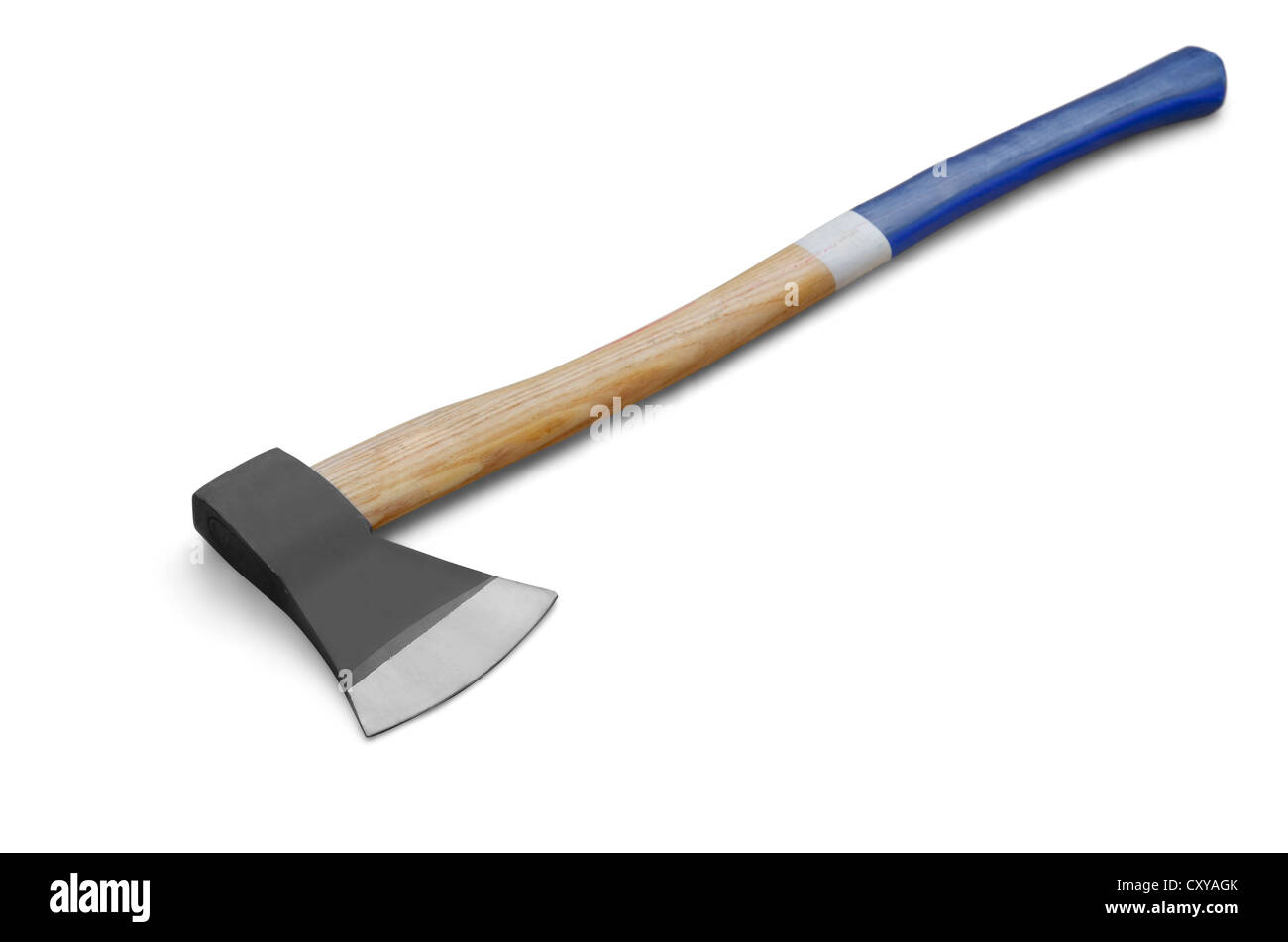 Iron axe with wooden handle isolated on white - Stock Image