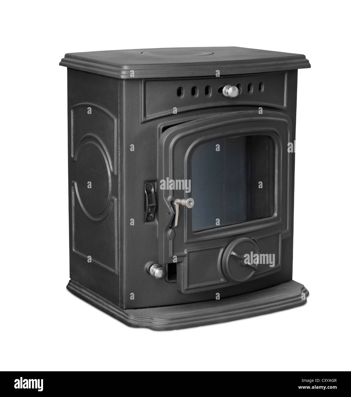 New cast iron wood stove isolated on white - Stock Image