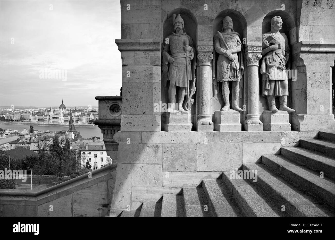 Budapest - guardians statue from Buda walls - Stock Image