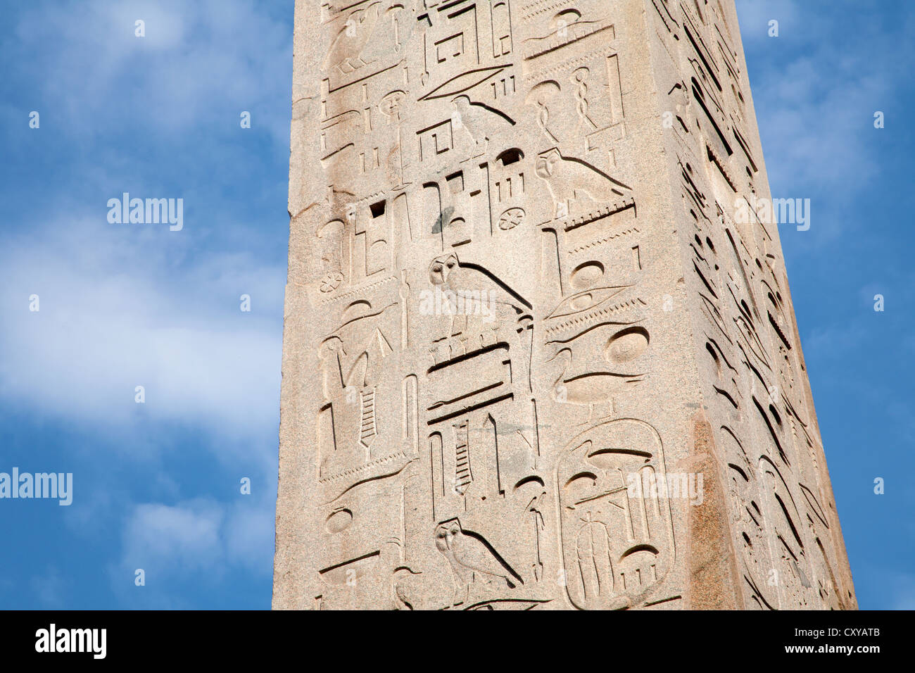 Rome - detail of hieroglyphs from obelisk by Lateran basilica - Stock Image