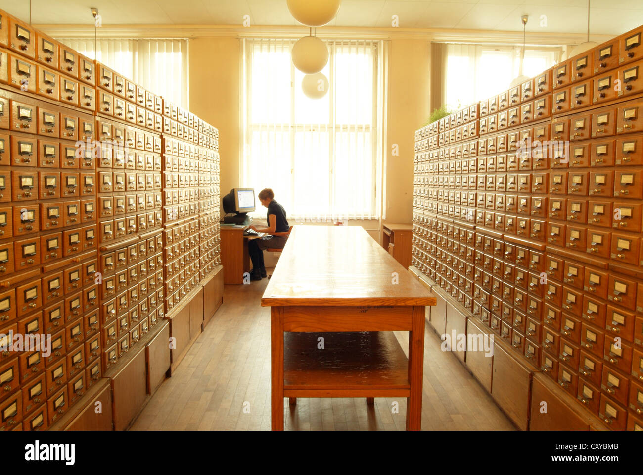 Filing cabinets in a university library Stock Photo