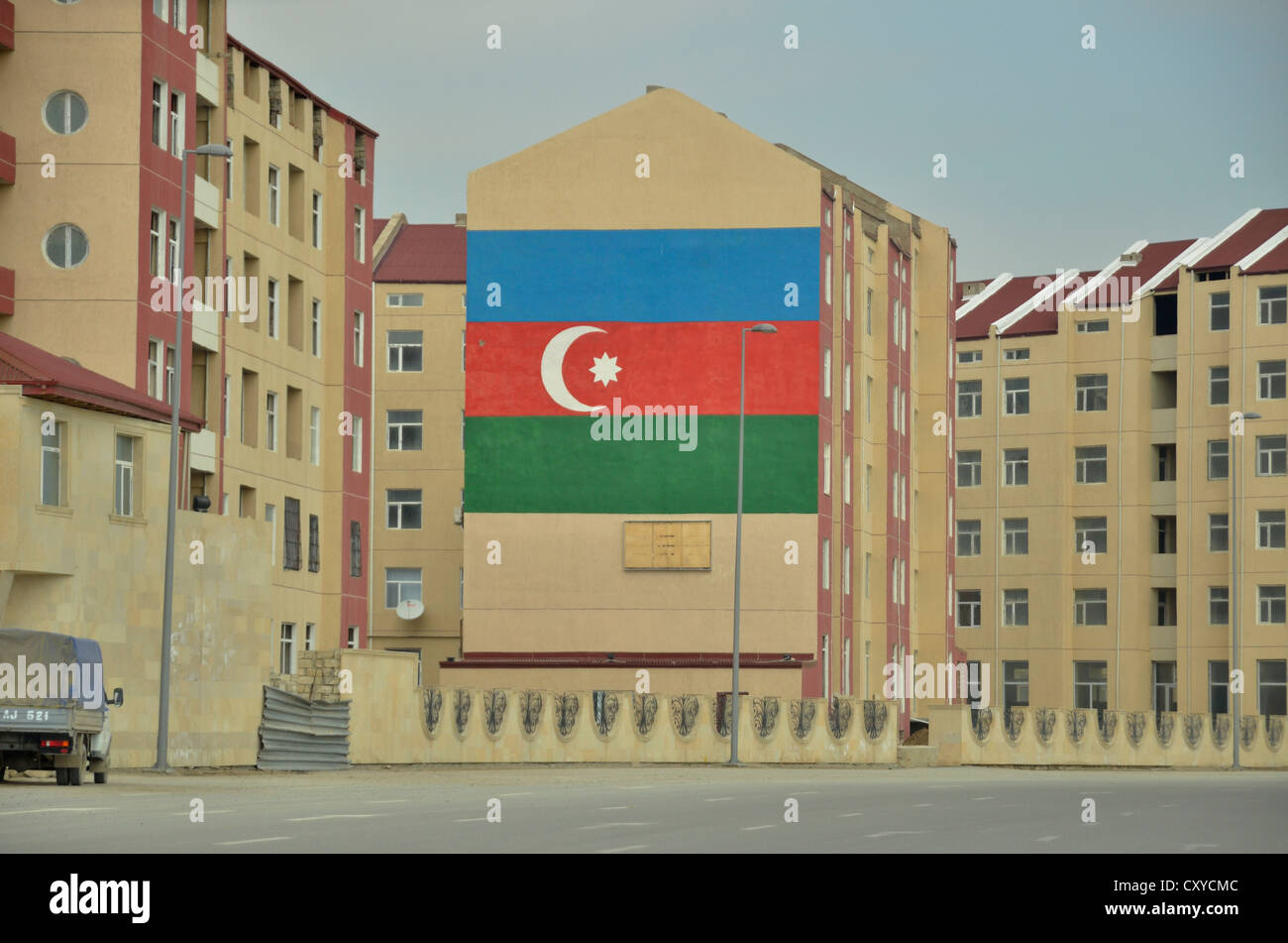 Azerbaijani national flag on a wall, Baku, Azerbaijan, Caucasus, Middle East, Asia - Stock Image